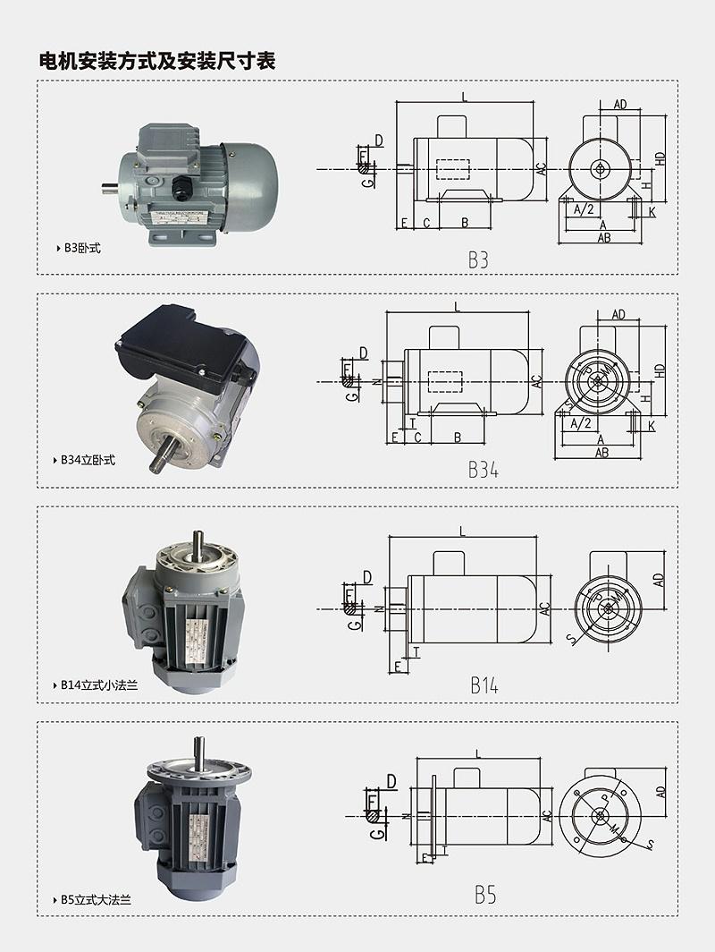电机安装尺寸表